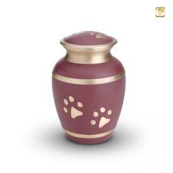 Dieren urn roze met lichtgoudkleurige band en dierenpootjes HU190pm}