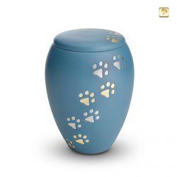 Dieren urn blauw met goud- en zilverkleurige dierenpootjes HU194bl}