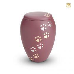 Dieren urn roze met goud- en zilverkleurige dierenpootjes HU194pl}