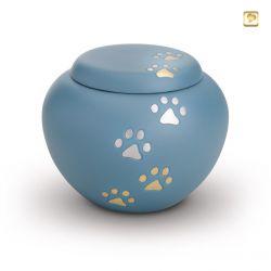 Dieren urn blauw met goud- en zilverkleurige dierenpootjes HU195bm}