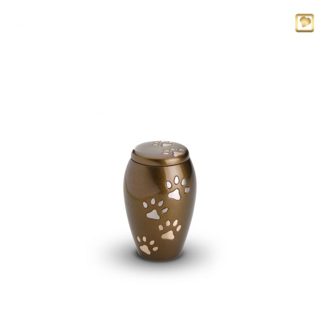 Dieren urn bruin met goud- en zilverkleurige dierenpootjes HU196k