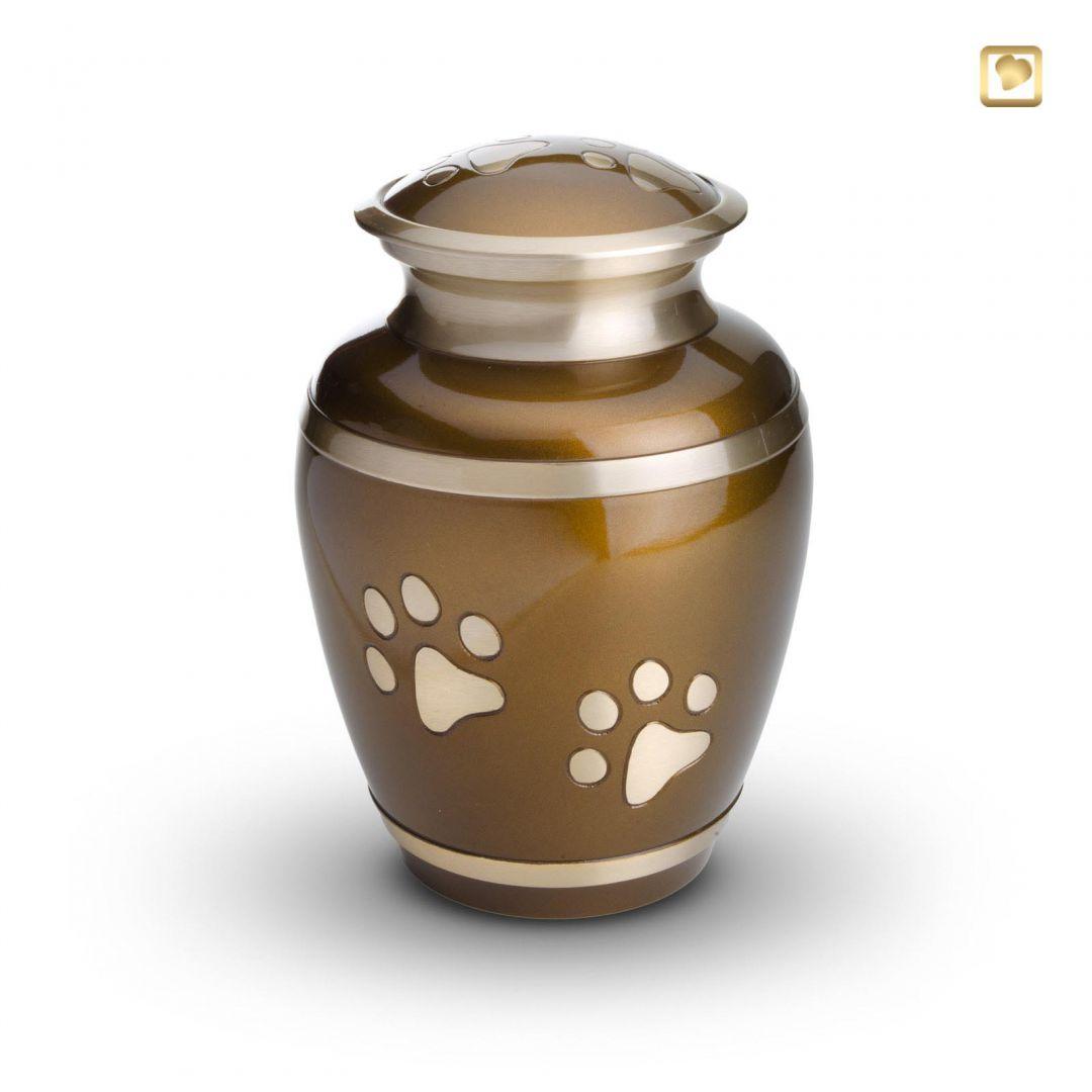 Dieren urn bruin met goudkleurige dierenpootjes HU197l