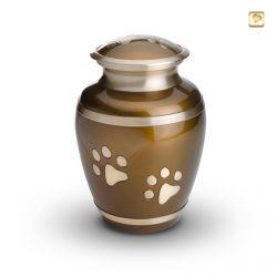 Dieren urn bruin met goudkleurige dierenpootjes HU197l}