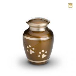 Dieren urn bruin met goudkleurige dierenpootjes HU197m}