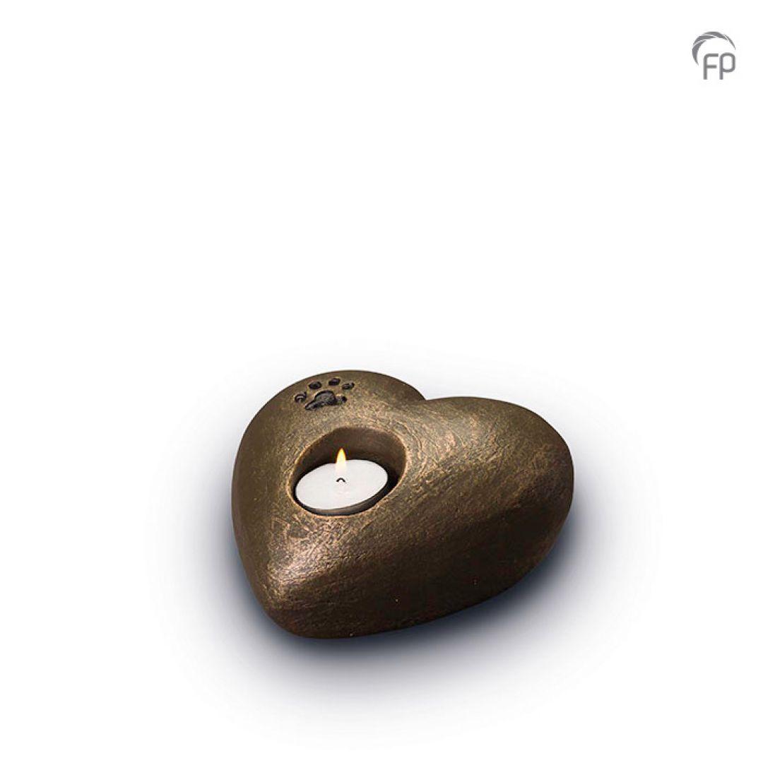 Keramische dieren art urn met bronzen afwerking UGK204