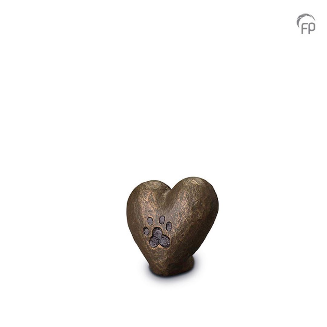 Keramische dieren art mini urn met bronzen afwerking UGK205