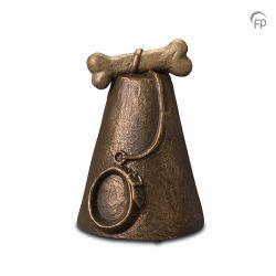 Keramische dieren art urn met bronzen afwerking UGK206}