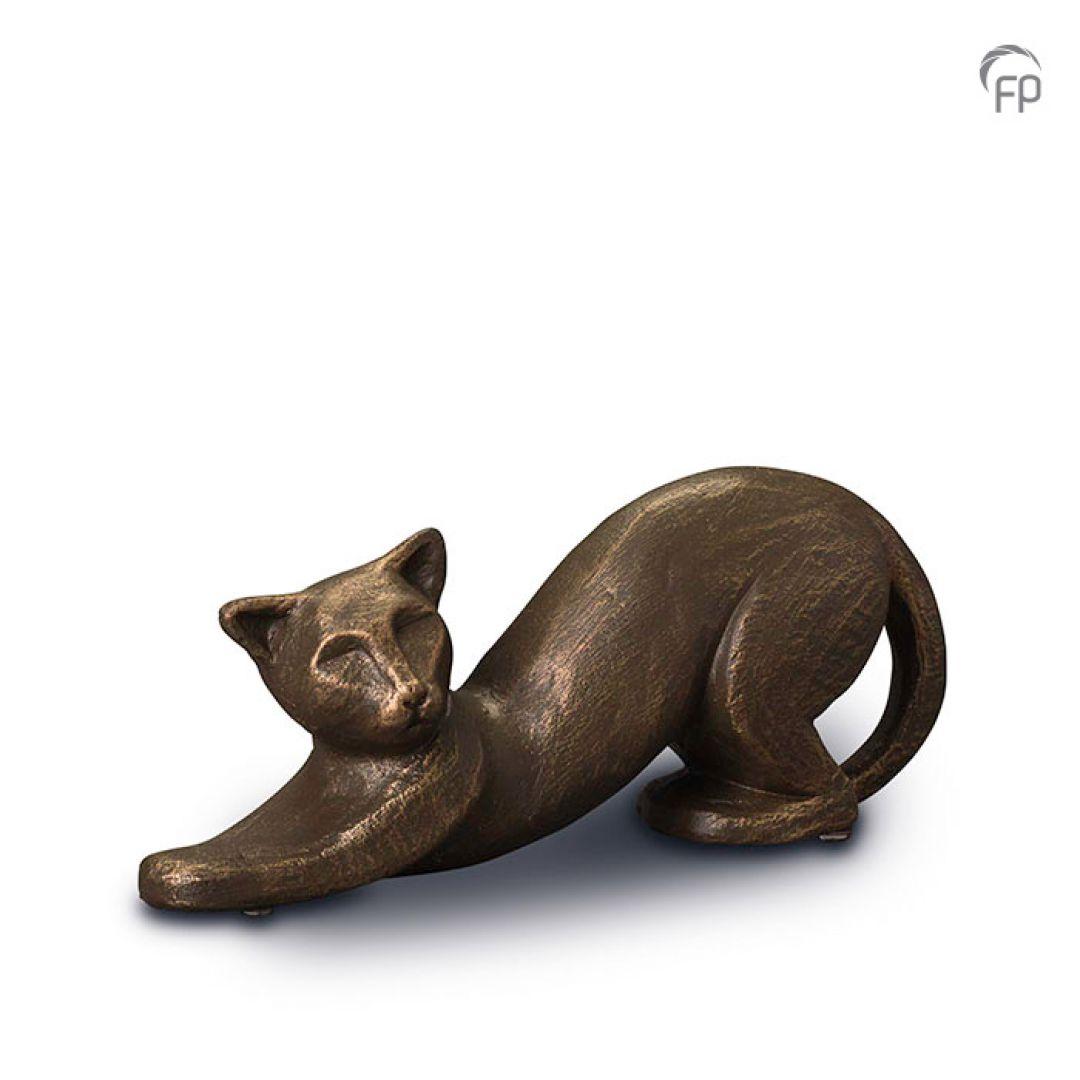 Keramische dieren art urn met bronzen afwerking UGK207