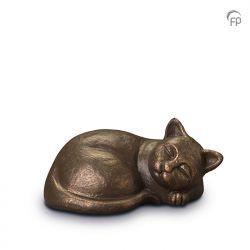 Keramische dieren art urn met bronzen afwerking UGK210}