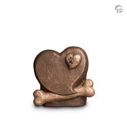 Keramische dieren art urn met bronzen afwerking UGK212}