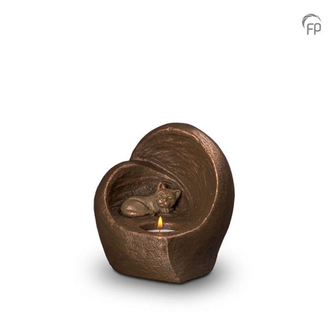 Keramische dieren art urn met bronzen afwerking UGK214
