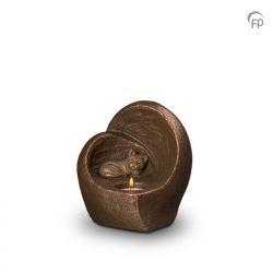 Keramische dieren art urn met bronzen afwerking UGK214}