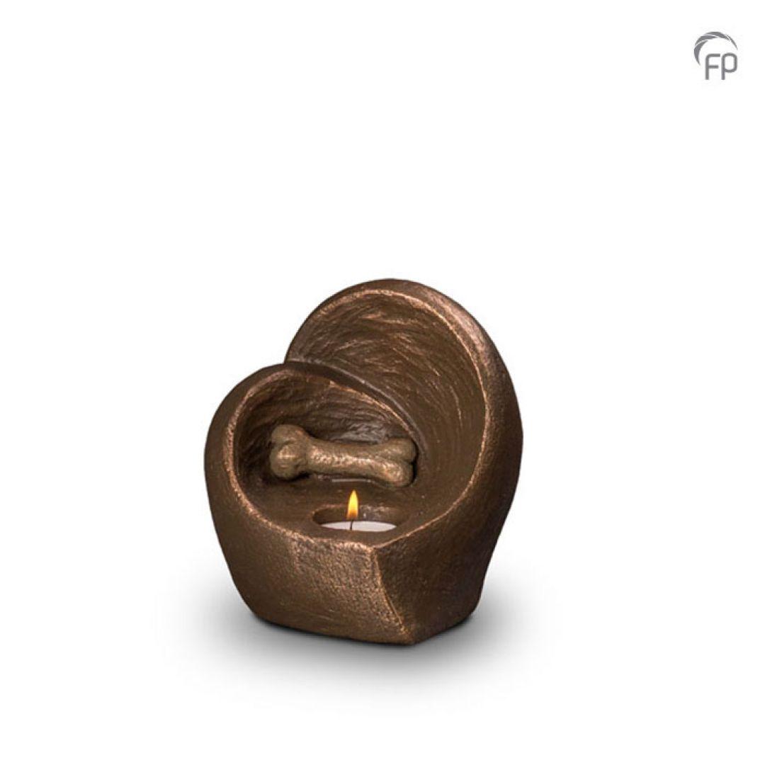 Keramische dieren art urn met bronzen afwerking UGK215