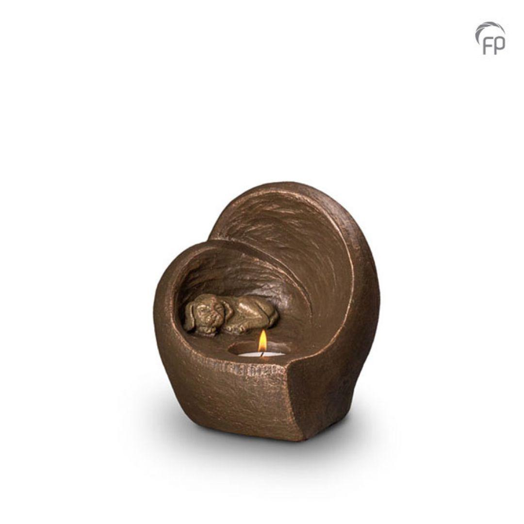 Keramische dieren art urn met bronzen afwerking UGK216
