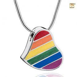 Regenboog Assieraad, hanger hart met askamer PHU222}