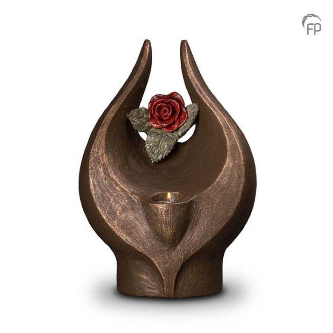 Keramische urn brons Geen rode roos zonder doorn met waxinelicht UGK077BT