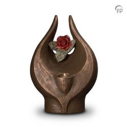 Keramische urn brons Geen rode roos zonder doorn met waxinelicht UGK077BT}