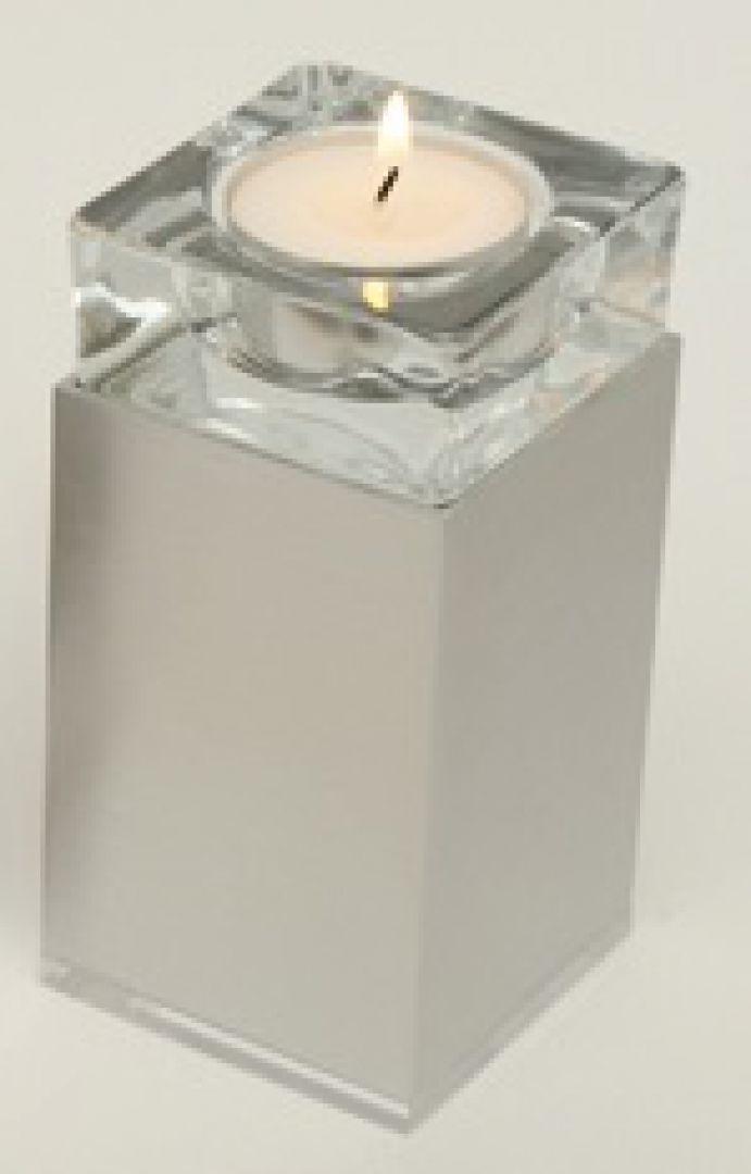 Waxinelichthouder mini urn metaal Square satijn 120mm 2536