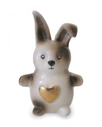 Keramiek baby urn konijntje met gouden hartje KLU18-1-1}