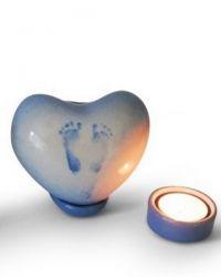 Keramiek baby urn hartje met voetafdrukjes (staand) KLU20-11-2+ST}