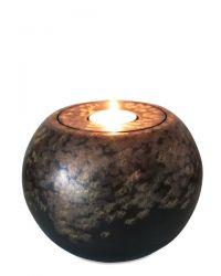 Keramiek mini urn met met lichtje met goud en koper MU20-1-5}