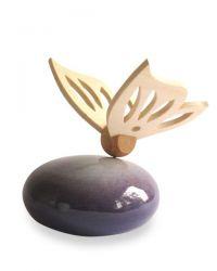 Keramiek mini urn met houten vlinder RSMU13-12-1}