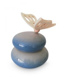 Keramiek mini urn met houten vlinder dubbel RSMU20-5-1}