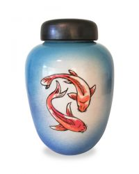Keramiek urn met vissen UV18-9-1}